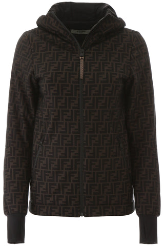 Fendi FF Monogram Hooded Zip-Up Jacket