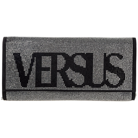 Versus Crystal Embellished Logo Clutch Bag