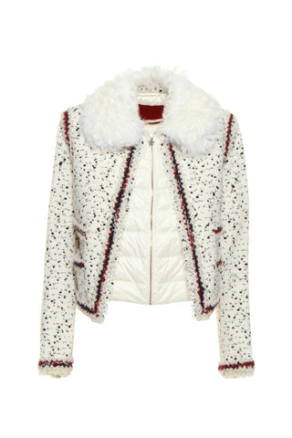 Moncler Shearling Collar Tweed Jacket