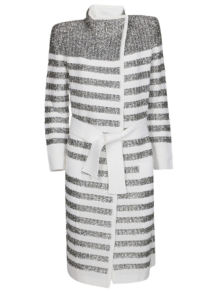 Balmain BALMAIN STRIPED GLITTER BELTED COAT