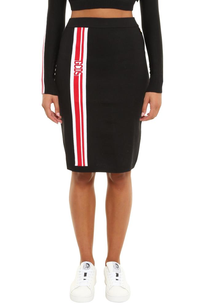 GCDS Stripe Band Pencil Skirt
