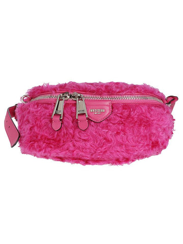 Moschino Furry Logo Belt Bag