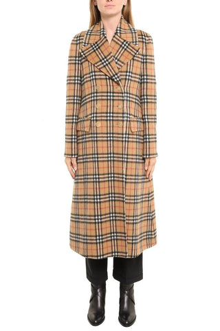 Burberry Double Breasted Checked Trench Coat