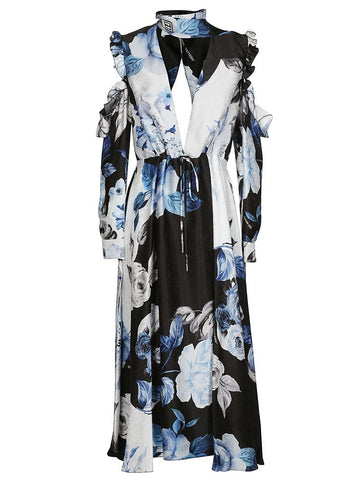 Off-White Floral Flared Long Dress