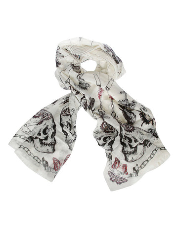Alexander McQueen Printed Frayed Scarf