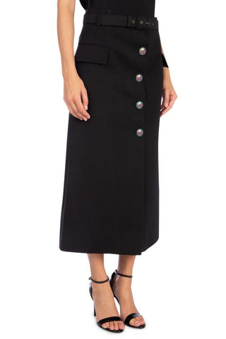 Givenchy Button-Up Belted Midi Skirt