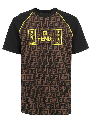 Fendi Contrasting Panelled Monogram T-Shirt