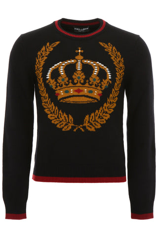 Dolce & Gabbana Crown Motif Knitted Jumper