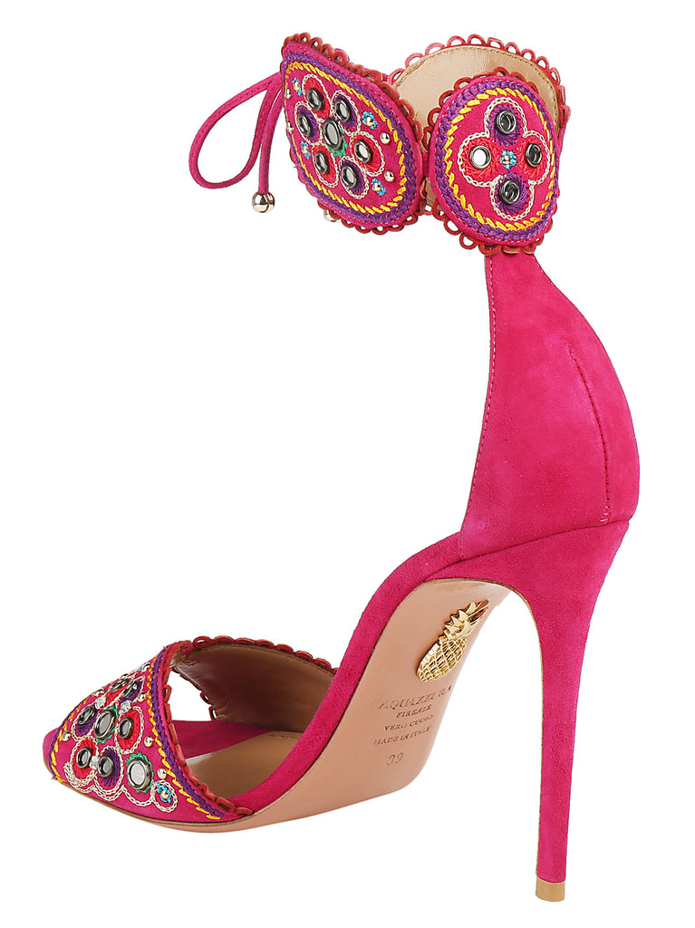 Embellished Ankle Tie Sandals - IT36.5 / Pink Aquazzura