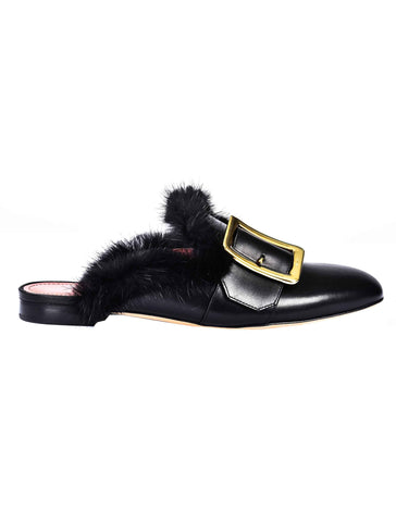 Bally Buckle Fur Mules