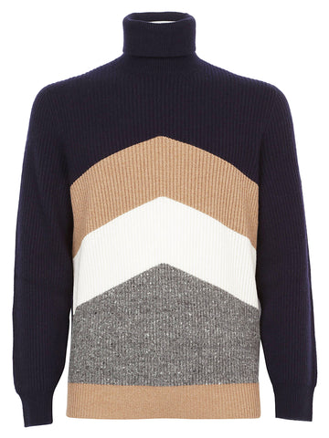 Brunello Cucinelli Contrast Knit Turtle Neck Jumper