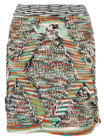 Missoni Fringed Effect Chunky Knit Skirt