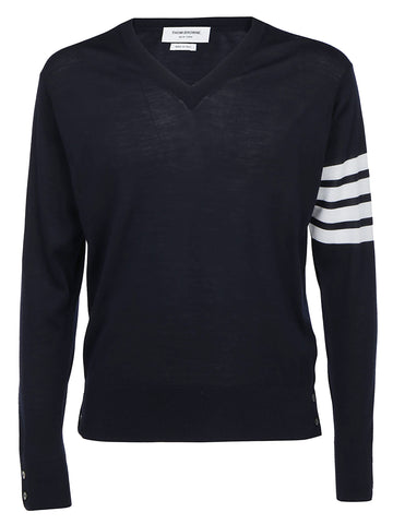 Thom Browne V-Neck 4 Bar Sweater