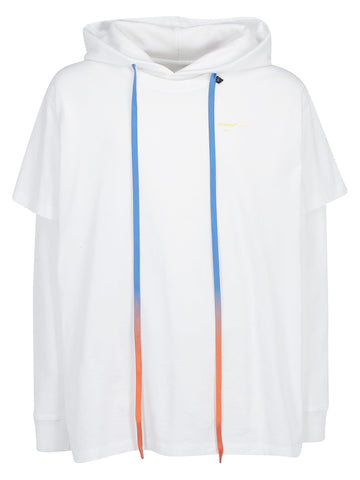 Off-White Logo Long Sleeved Hooded T-Shirt
