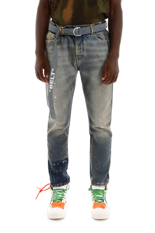Off-White Dash Motif Printed Jeans