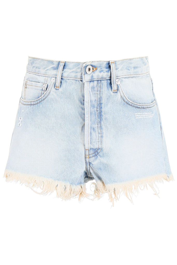 Off-White Logo Frayed Hem Shorts