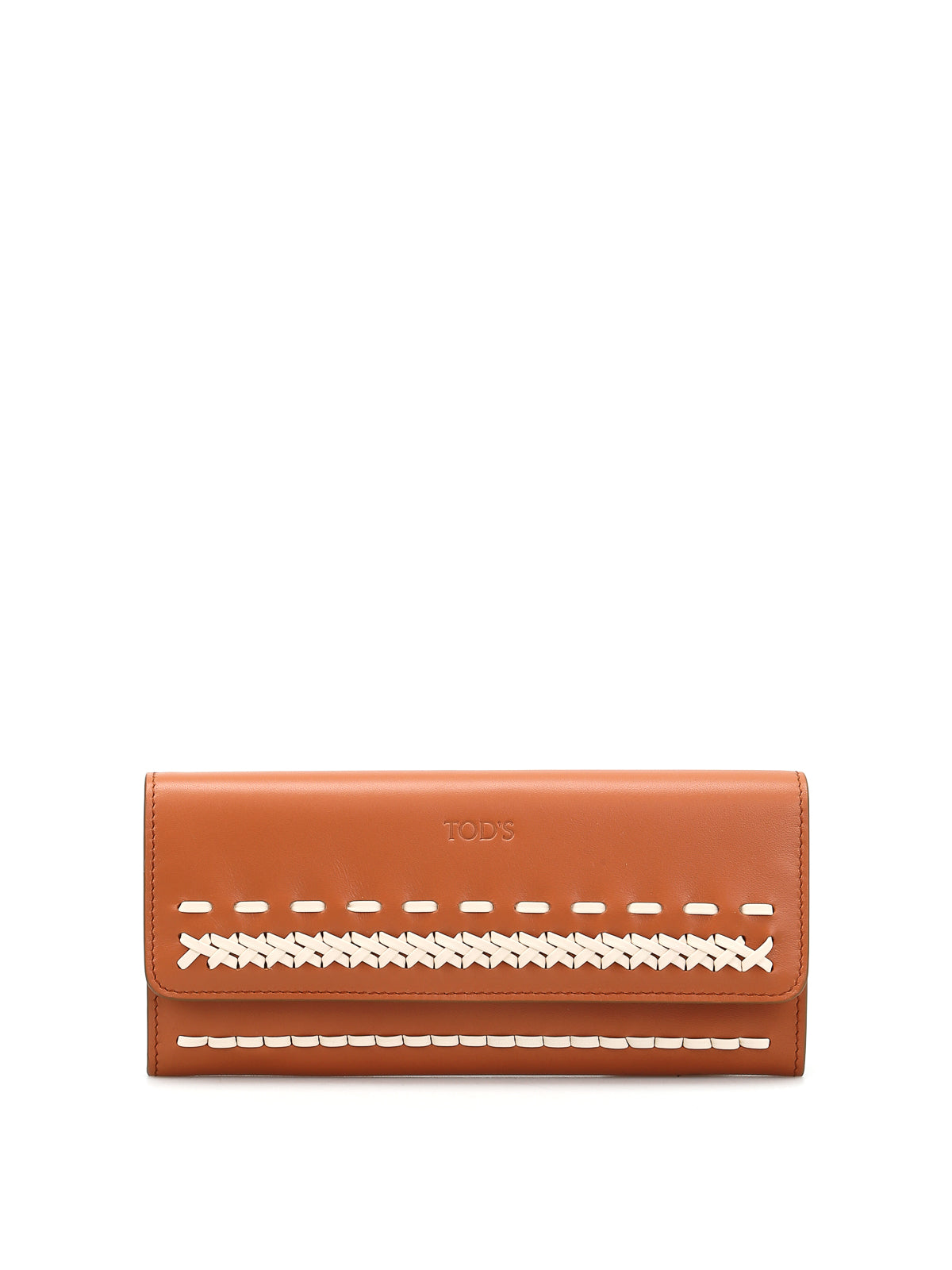 TOD'S BRAIDED DETAIL FLAP LEATHER WALLET