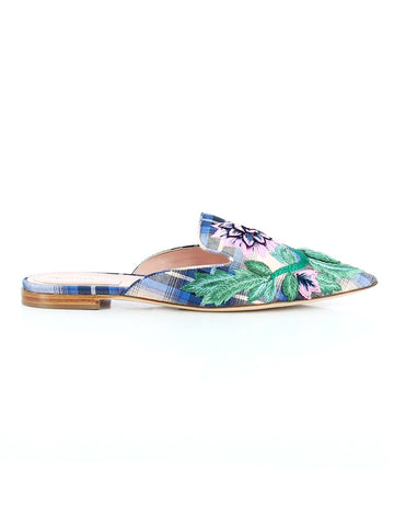 Alberta Ferretti Floral Embroidered Check Mules