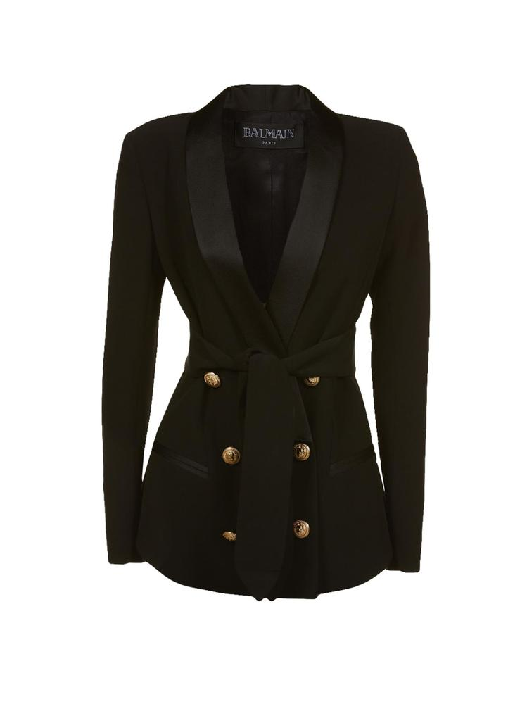ddfcff3c Balmain Double Breasted Satin Lapel Blazer – Cettire