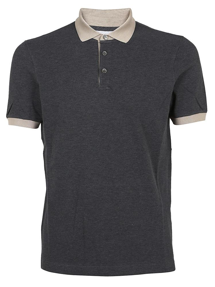 BRUNELLO CUCINELLI CONTRASTING COLLAR POLO SHIRT