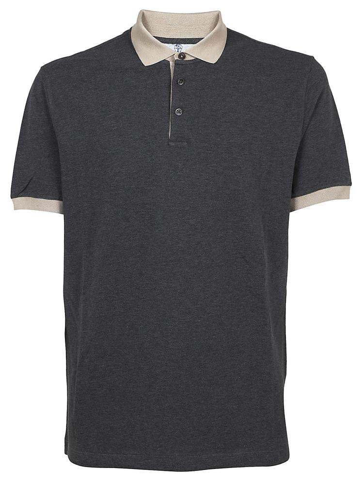 BRUNELLO CUCINELLI CONTRAST COLLAR POLO SHIRT