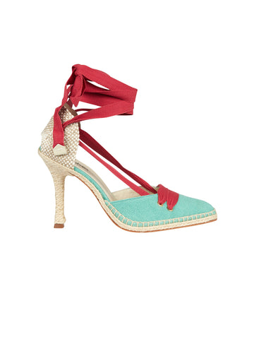 Manolo X Castaner Lace-Up Espadrille Pumps