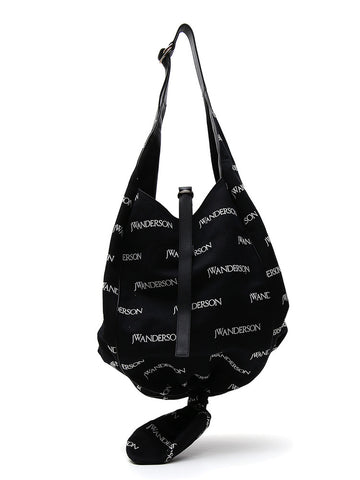 Knot Hobo Bag in Black Embroidered Linen J.W.Anderson HrjnTeC