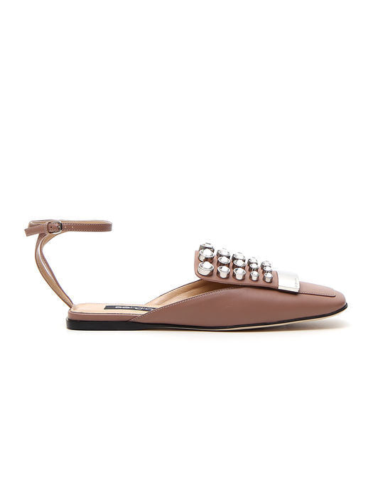SERGIO ROSSI EMBELLISHED ANKLE STRAP LOAFERS