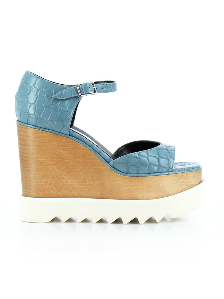 STELLA MCCARTNEY ELYSE CROC EFFECT PLATFORM SANDALS