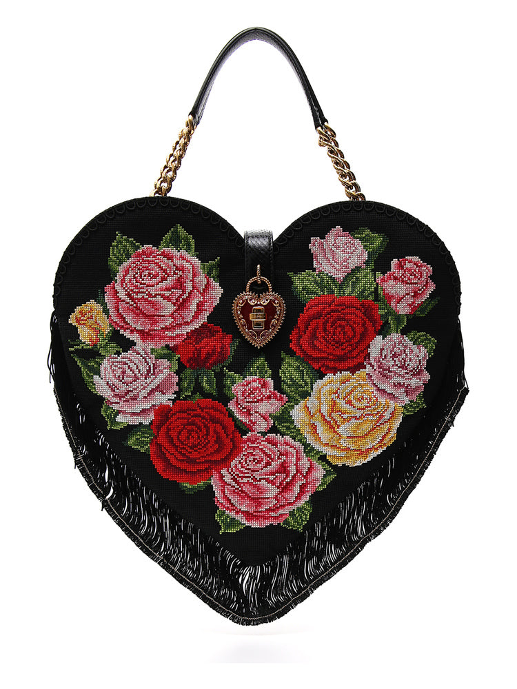 Dolce   Gabbana Embroidered Floral Love Heart Bag – Cettire 1476d6511a965