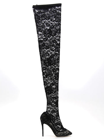 Dolce & Gabbana Over The Knee Lace Boots