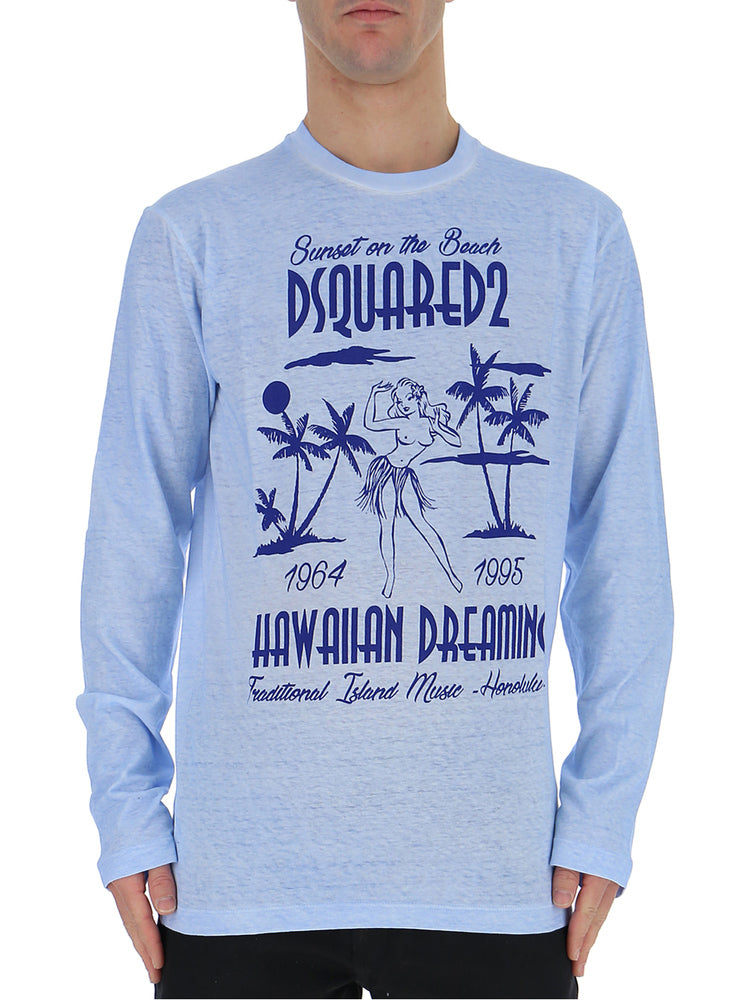 154827bd Dsquared2 Hawaiian Print Lonhg Sleeves T-Shirt – Cettire