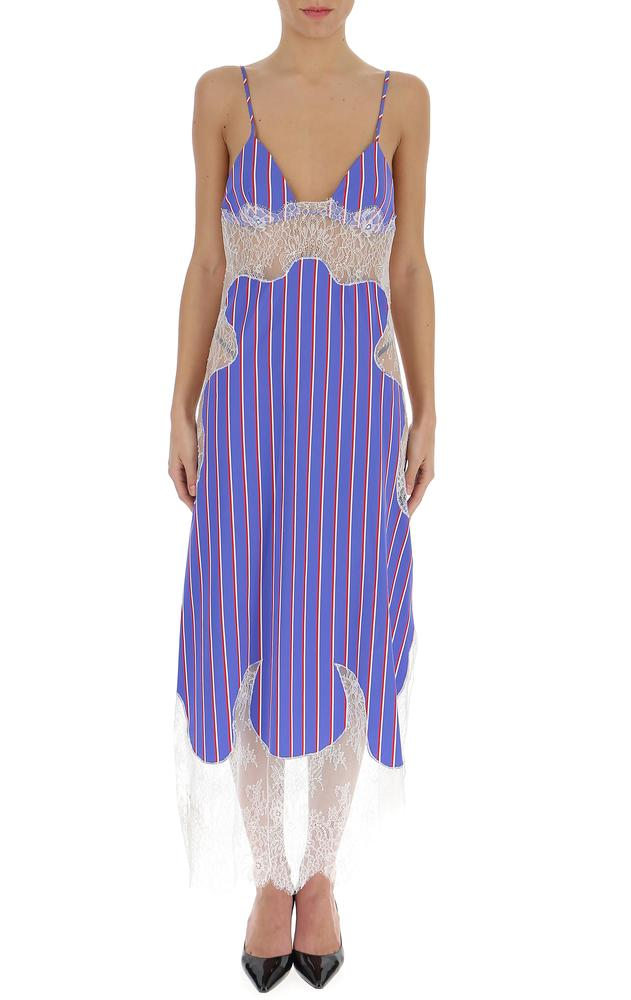 eb24db38587c Off-White Striped Lace Detail Dress – Cettire