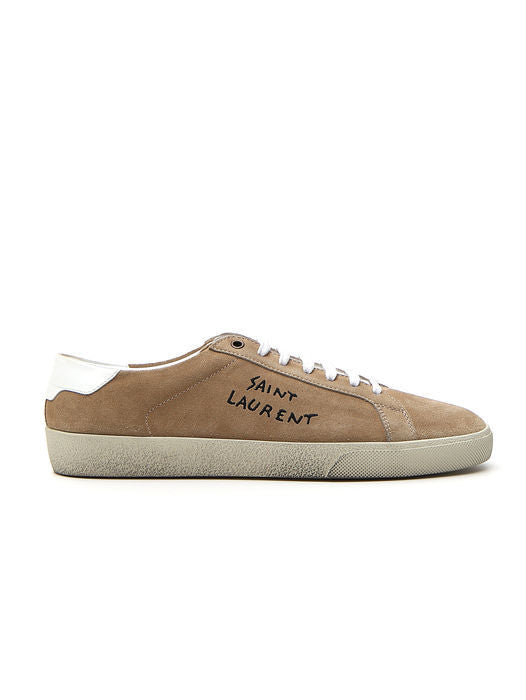 SAINT LAURENT EMBROIDERED LOGO SUEDE SNEAKERS