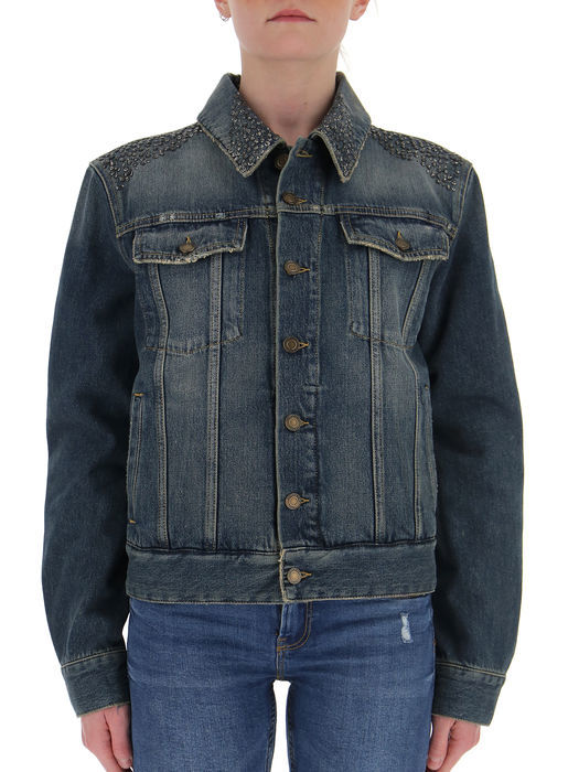 SAINT LAURENT EMBELLISHED SHOULDER DENIM JACKET
