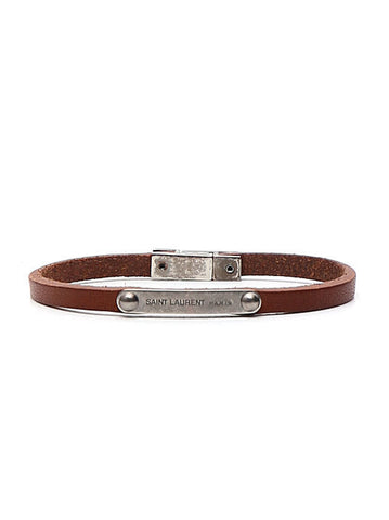 Saint Laurent Logo Plaque Leather Bracelet