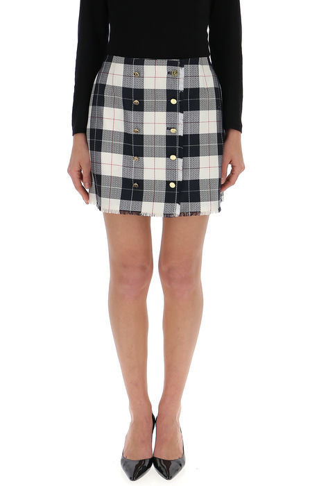 THOM BROWNE DOUBLE BREASTED CHECK MINI SKIRT