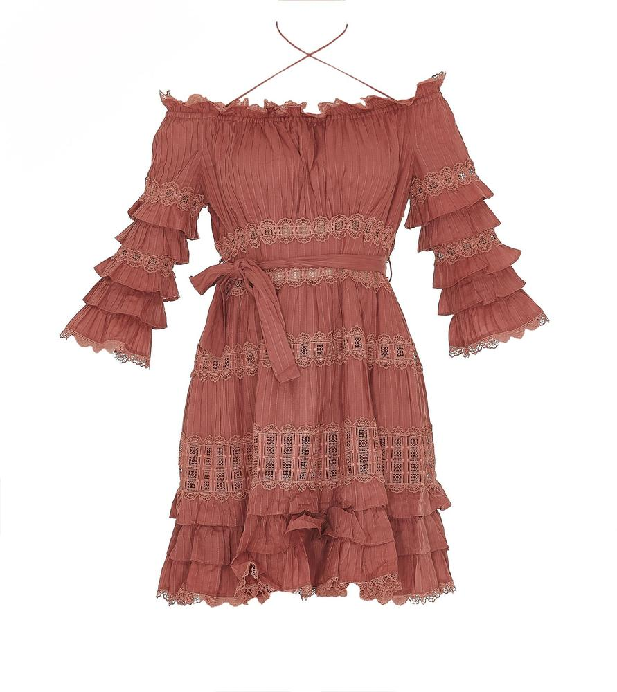 ZIMMERMANN LAYERED LACE TRIM DRESS
