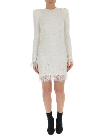 Balmain Fringed Long-Sleeve Dress