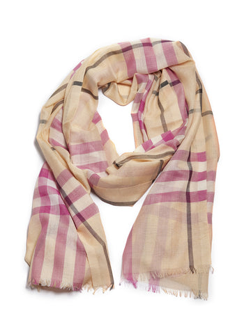 Burberry Frayed Edge Check Print Scarf
