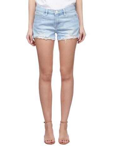 Frame Distressed Denim Mini Shorts