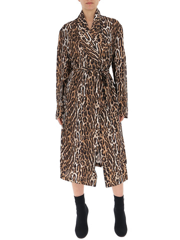 R13 Leopard Print Belted Trench Coat