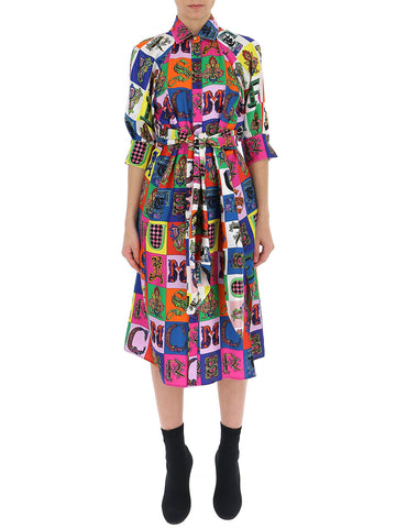 Versace Mixed Print Belted Dress