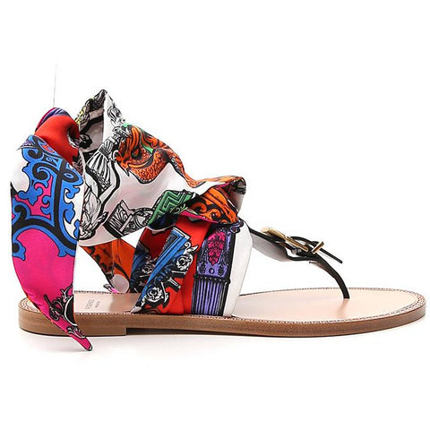 Versace Printed Scarf Strap Sandals