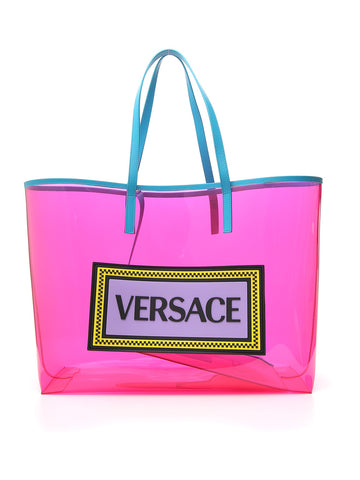 Versace Logo Embossed Tote Bag
