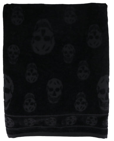 Alexander McQueen All Over Skull Embroidered Beach Towel