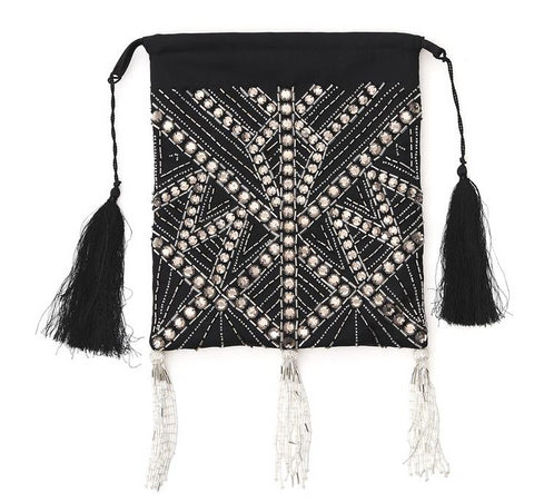 Attico Embroidered Tassel Clutch Bag