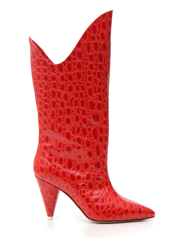 Attico Boots ATTICO EMBOSSED HEELED BOOTS