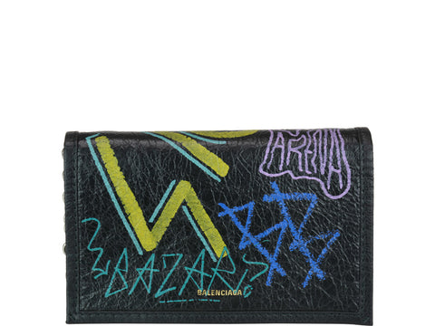 Balenciaga Graffiti Print Chain Wallet Bag