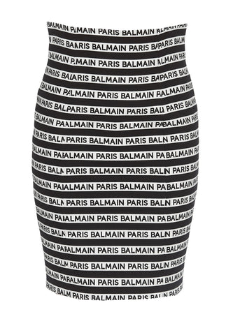 Balmain Logo Striped Mini Skirt
